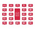 Set of red web flat icons sales Royalty Free Stock Photo