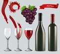 Set of red wine. Glasses, bottles, splash, grapes. 3d realistic vector