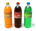 Set of refreshing drinks in plastic bottles Royalty Free Stock Images