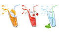 Set of refreshing drinks vector illustration Royalty Free Stock Photo