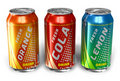 Set of refreshing soda drinks in metal cans Royalty Free Stock Photo