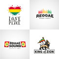 Set of reggae music vector design love and peace concept judah lion with a rastafari flag king zion logo illustration Stock Photography