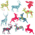 Set reindeer christmas silhouettes your design scrapbook Stock Photo