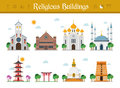 Set of Religious Buildings Vector Illustration
