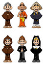 Set of religious collection cartoon catholic monks buddhist monks nun and priest isolated on white background Stock Photos