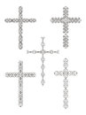 Set of religious cross designs Stock Photo