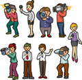 Set of reporter people Royalty Free Stock Photos