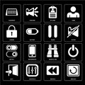 Set of Restart, Rewind, Exit, Binoculars, Switch, Pause, Locked, Id card, Calendar icons