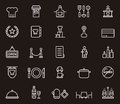 Set of restaurant related icons illustrated to a Royalty Free Stock Image