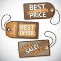 Set of retail cardboard sale tags vector illustration Royalty Free Stock Image