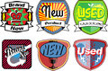 Set of retro badges with condition descriptive words Stock Photography