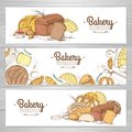 Set of retro bakery banners. Bakery products Royalty Free Stock Photo