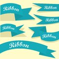 Set of retro blue ribbons and labels Royalty Free Stock Photos