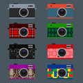 Set of retro cameras hipster style vector eps illustration Stock Photography