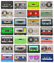 Set of retro cassette tapes collection isolated on white Royalty Free Stock Photo