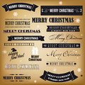Set of retro christmas signs merry and happy new year Royalty Free Stock Images