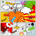 Set of Retro Comic Book Vector Design elements, Speech and Thought Bubbles Royalty Free Stock Photo