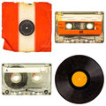 Set of retro compact cassettes and vinyl albums isolated on whit Royalty Free Stock Photo