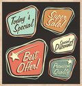 Set of retro design elements artistic concept promotional labels badges stickers ads and bubble speeches vintage collection Royalty Free Stock Photo