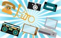 A set of retro electronics, technology. Old, vintage, retro, hipster, antique kinescope TV, computer with floppy, disk phone, came Royalty Free Stock Photo