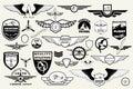 Set retro emblems, design elements , badges and logo. Aviation Royalty Free Stock Photo