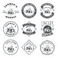 Set of retro farm fresh labels elements. Vector