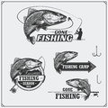 Set of retro fishing labels, badges, emblems and design elements. Vintage style design.