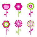 Set of retro flower elements for easter / spring Royalty Free Stock Photography