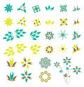 Set of retro flowers Stock Photos