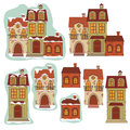 Set of retro houses vector illustration isolated on white background Royalty Free Stock Photos