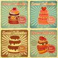 Set Retro karty z tortem Fotografia Stock