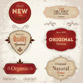 Set of retro labels vintage with ecological thematics fresh natural organic and gmo free guarantee eps Stock Photo