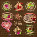 Set of retro labels for wine collection on a brown background Stock Image