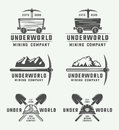 Set of retro mining or construction logo badges and labels