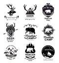 Set retro mountain camp and the journey logo, emblem, label. Royalty Free Stock Photo