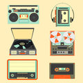 Set of retro music gadgets from 21-st century. Old musical devic Royalty Free Stock Photo