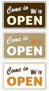 Set of retro open signs labels in different colors vector illustration Stock Photos