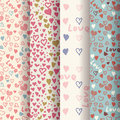 Set of retro patterns with colorful hearts Royalty Free Stock Image