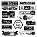 Set of retro promotion discount sale and guarantee tag banner label badge sticker ribbon in black and white Royalty Free Stock Photo