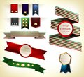 Set of retro ribbon ribbons and labels vector illustration Stock Photography