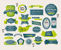 Set of retro ribbons and labels origami banners cartoon illustration Royalty Free Stock Images