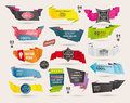 Set of retro ribbons and labels origami banners cartoon vector illustration Stock Photos