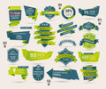 Set of retro ribbons and labels origami banners cartoon vector illustration Royalty Free Stock Photography