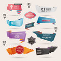 Set of retro ribbons and labels origami banners vector illustration cartoon vector illustration Royalty Free Stock Photo