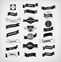 Set of retro ribbons and labels vector illustration old style Stock Photography