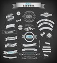 Set of retro ribbons and labels vintage vector illustration old style Stock Photo