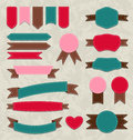 Set retro ribbons vintage labels emblems illustration Stock Photos