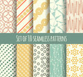 Set of 10 retro seamless pattern Royalty Free Stock Photo