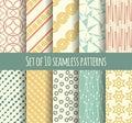 Set of 10 retro seamless pattern Royalty Free Stock Photo