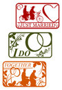 Set of retro stamps with marriage motifs wedding Stock Photos